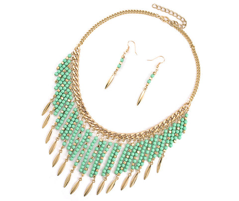 Goldtone Colored Seedbead Fringe Necklace (Mint)