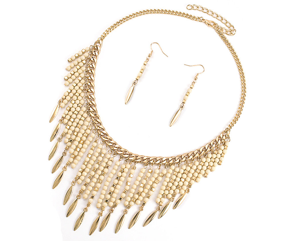 Goldtone Colored Seedbead Fringe Necklace (Ivory)...