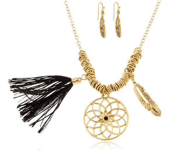 Goldtone Dream Catcher, Feather, Tassel Charms Chain Necklace with Matching Earrings