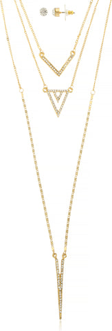 Triple Layred Dangling Iced Out Chevron Chain Necklace Jewelry Set (Goldtone)
