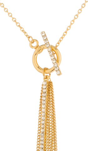 Double Layred Dangling Iced Out Bar Chain Necklace Jewelry Set (Goldtone)