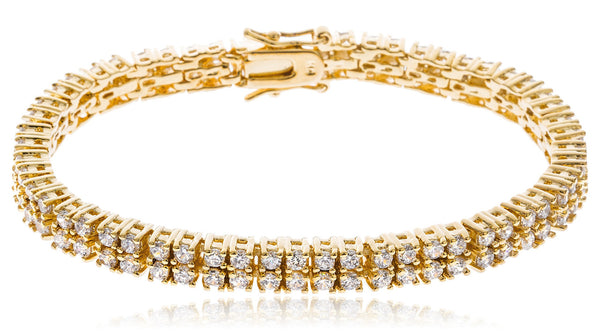 Goldtone Brass 7.5 Inch Square Box Design Tennis Bracelet with Cz Stones