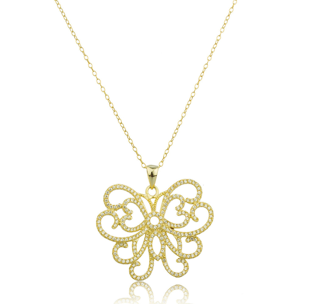 925 Sterling Gold Plated Butterfly Pendant...
