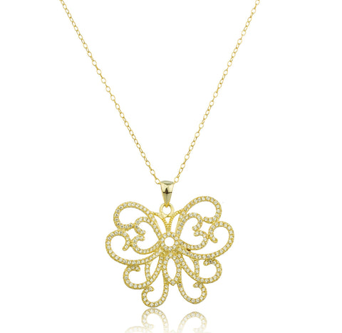 925 Sterling Gold Plated Butterfly Pendant with Clear Cz Stones Anchor Necklace