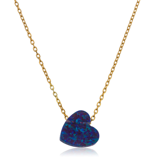 925 Sterling Gold Plated Dark Blue Created Opal Heart Pendant 18 Inch Link Chain