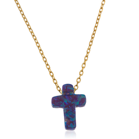 925 Sterling Gold Plated Dark Blue Created Opal Cross Pendant 18 Inch Link Chain