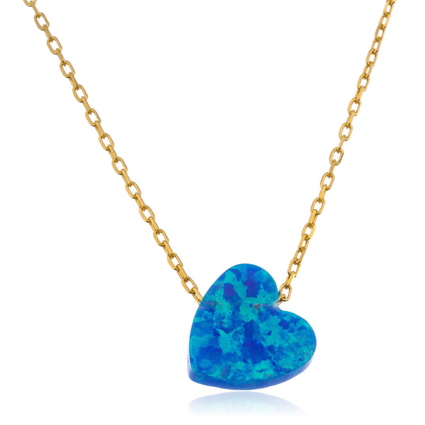 925 Sterling Gold Plated Light Blue Created Opal Heart Pendant18 Inch Link Chain