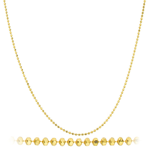 925 Sterling Silver Goldtone 1.5mm Beaded D-cut Chain Necklace