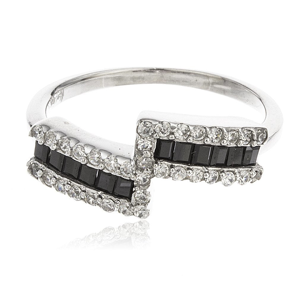 Ladies 925 Sterling Silver Modern Double...