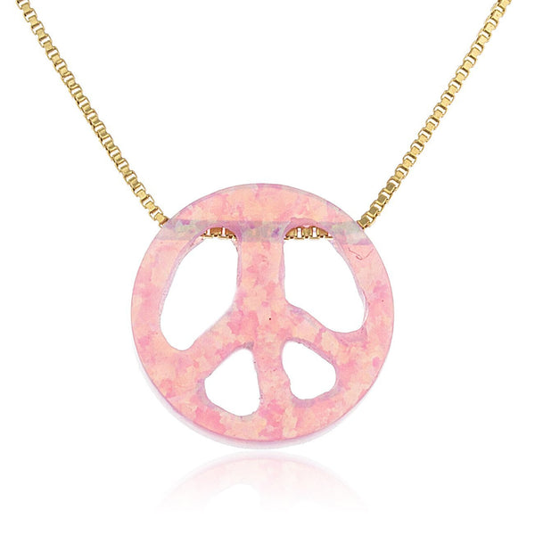 925 Sterling Goldtone Light Pink Created Opal Peace Sign Pendant Necklace