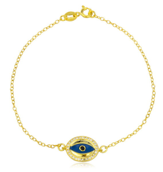 Blue Evil Eye Charm Link Chain Bracelet with Clear Cz Stones