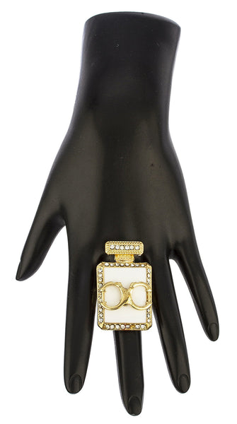 Goldtone Perfume Bottle with Stones Stretch Ring (White)