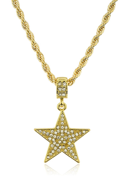 Iced Out Star Micro Pendant with a 24 Inch 4mm Rope Necklace Chain (Goldtone)