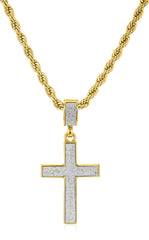 Sandblast Cross Micro Pendant with a 24 Inch 4mm Rope Chain (Goldtone)
