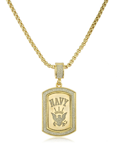 Sandblasted U.S. Navy Logo Micro Pendant with a 24 Inch Box Chain (Goldtone)