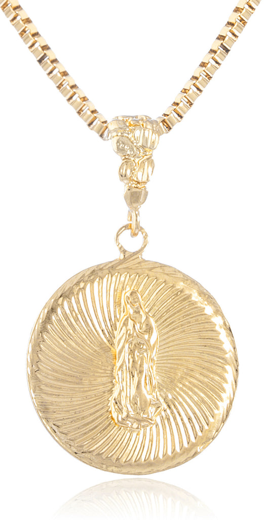 Goldtone Embossed Saint Mary Medal with...