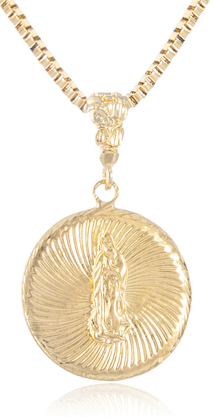 Goldtone Embossed Saint Mary Medal with 24 Inch Box Chain Necklace