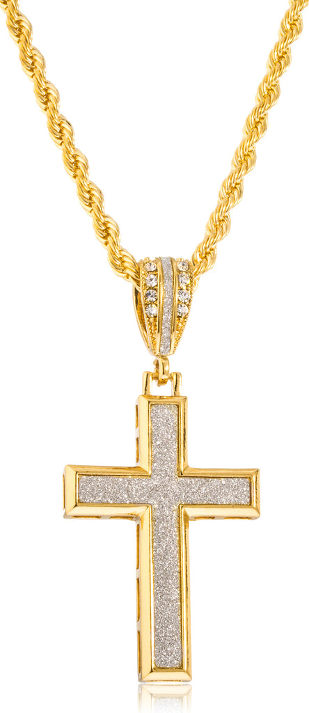 Goldtone Sandblast 3D Cross Pendant with...