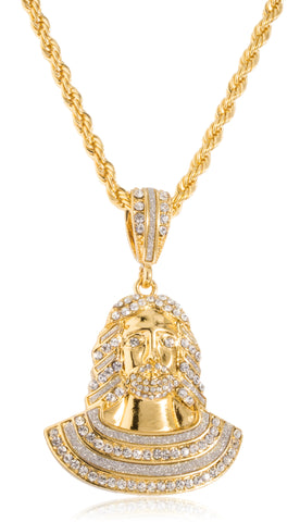 Goldtone Iced Out Jesus Face Pendant with a 5mm 30 Inch Rope Chain Necklace