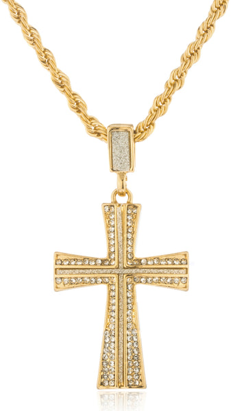 Goldtone Iced Out Sandblast Curved Cross Pendant with a 24 Inch Rope Necklace