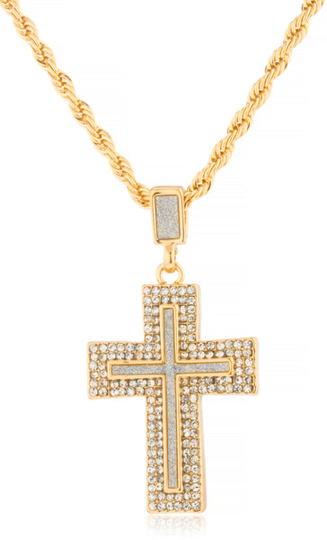 Goldtone Iced Out Sandblast Double Cross Pendant with a 24 Inch Rope Necklace