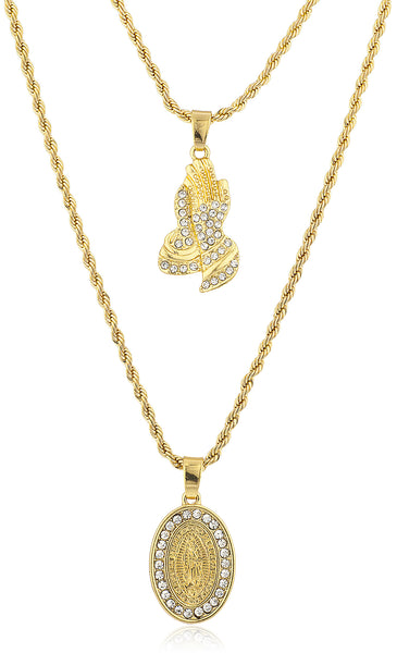 Double Layer Necklace with Iced Out Praying Hands & Mother Mary Micro Pendant...