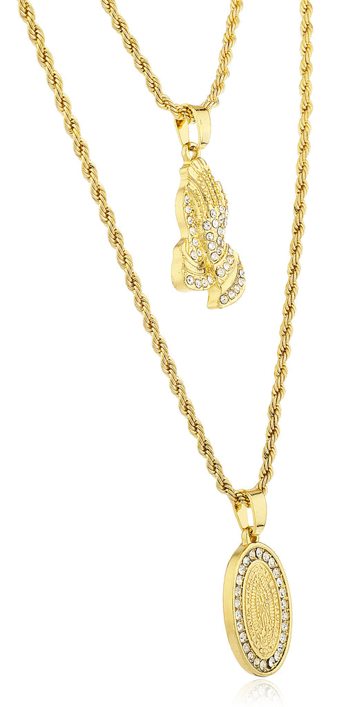 Double Layer Necklace with Iced Out...