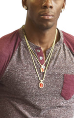 "Goldtone Simulated Gemstone Micro Pendants with 22.5"" and 27"" Rope Chain Layered Necklace Set - Available in Red, Green & Black"
