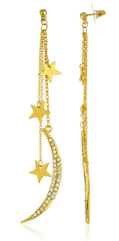 Goldtone Iced Out Crescent Moon and Stars Drop Earrings