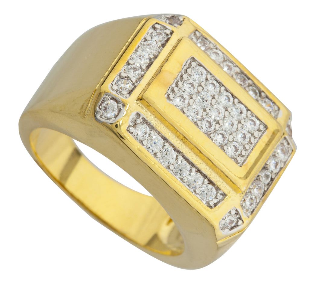 Men's Goldtone Iced Out Curved Layered...