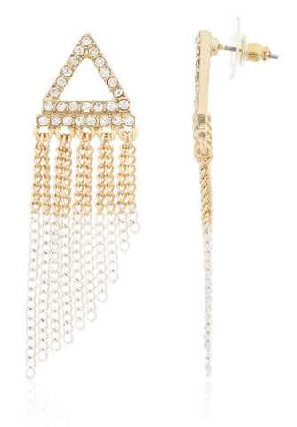 Iced Out Triangle with Tassels Stud Earrings