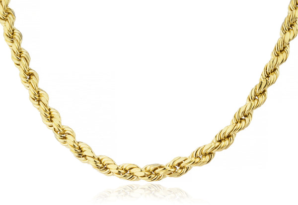 "14k Yellow Gold 6mm D-cut Rope Chain Necklace - 26"" & 30"" Available"