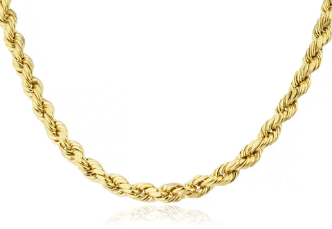 14k Yellow Gold D-cut Rope Chain Necklace 2mm - 6mm