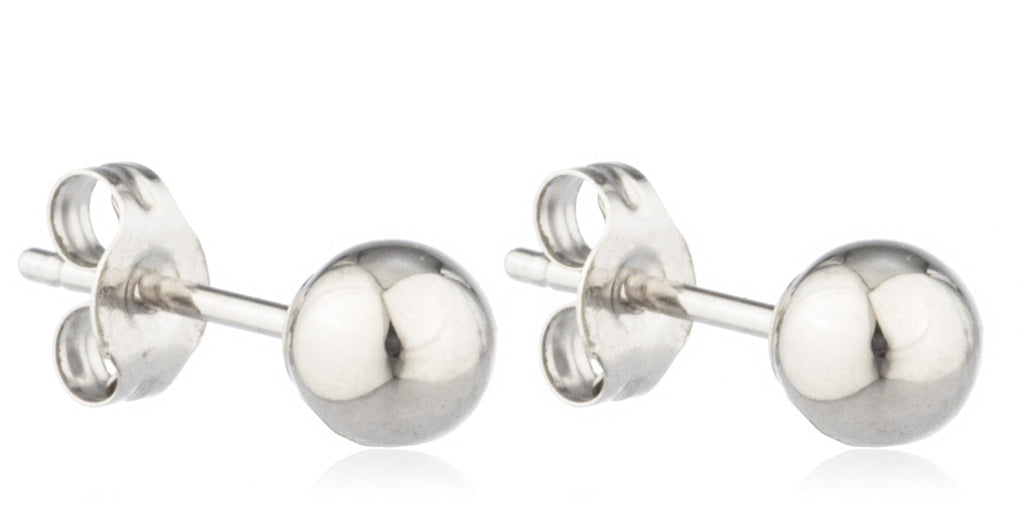 14K White Gold Ball Earring Studs...