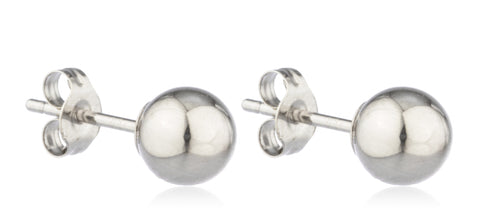 Real 14k White Gold Ball Earring Studs with 14k Push Backs -2mm to 10mm Available
