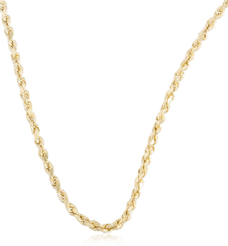 "10K Yellow Gold 2mm D-cut Rope Chain Necklace - 18"" - 30"" Available"