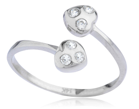 14K Yellow or White Gold Double Heart with CZ Stones Toe Ring