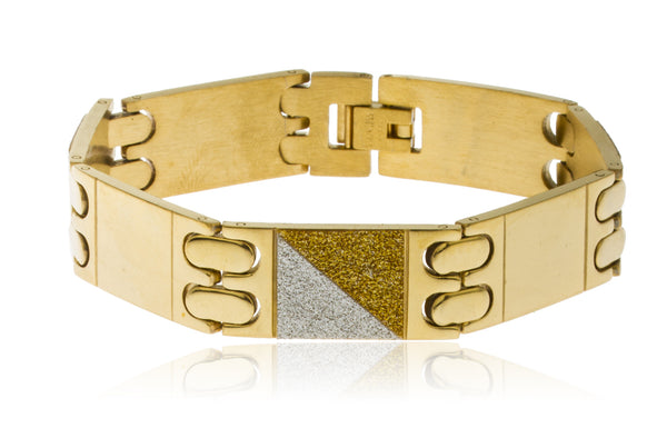Men's Stainless Steel 8.5 Inch Bracelet with Alternating Sandblast Squares (Goldtone)