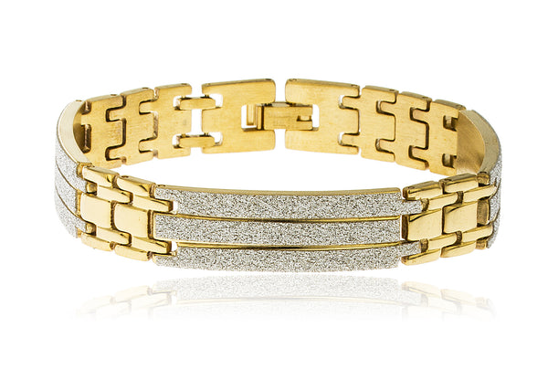 Men's Stainless Steel 8 Inch Bracelet with Sandblast Sections (Goldtone)