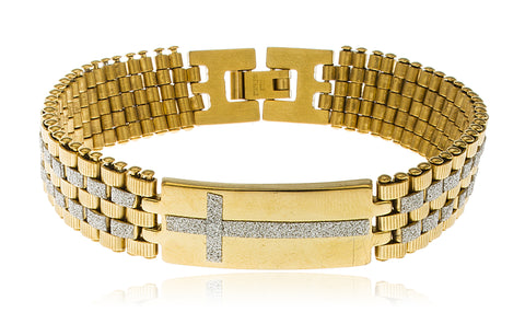 Men's Stainless Steel Snap Clasp Bracelet with Cross (Goldtone)
