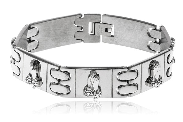 Men's Stainless Steel 8 Inch Designer Bracelet with Snap Clasp and Embedded Prayer Hands (Silvertone)