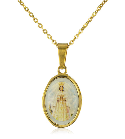 Stainless Steel 19 Inch Adjustable Necklace with Our Lady of Rosary Pendant (Goldtone)