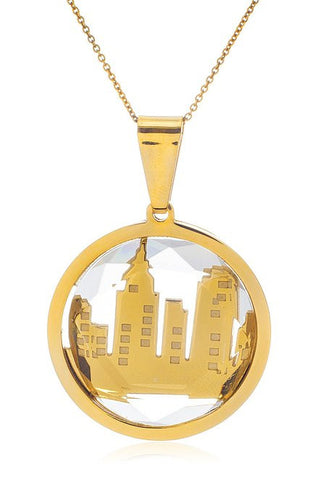 Stainless Steel City Buildings in Clear Stone Adjustable 18 Inch Link Necklace (Goldtone)