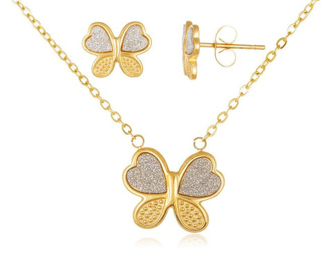 Stainless Steel Butterfly and Sandblast Pendant 18 Inch Adjustable Necklace and Matching Earrings (Goldtone)
