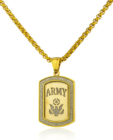 Stainless Steel Army Sandblast Pendant with a 24 Inch Round Box Chain (Goldtone)