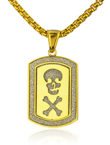 Stainless Steel Skull and Bones Sandblast Dog Tag with a 24 Inch Round Box Chain (Goldtone)