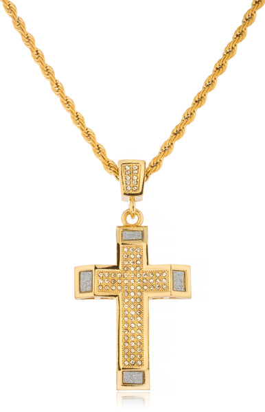 Stainless Steel Iced Out Cross with Sandblast Pendant with 24 Inch Rope Chain (Goldtone or Silvertone)