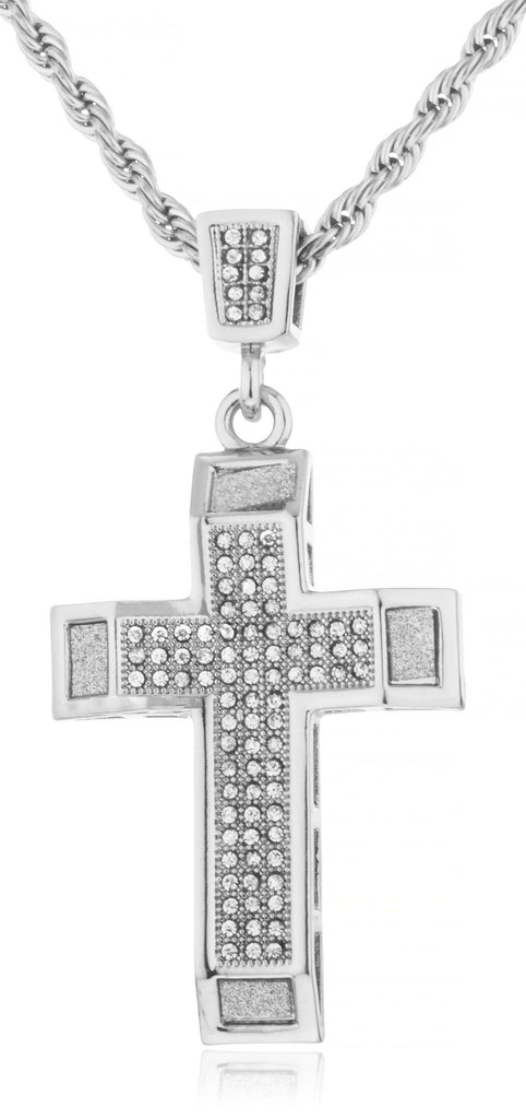 Stainless Steel Iced Out Cross with...
