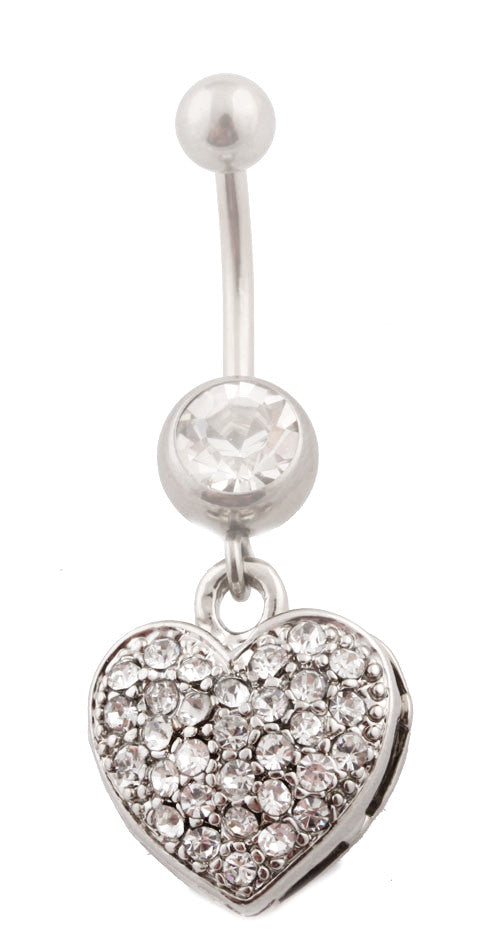 Iced Out Heart with Clear Rhinestone...