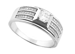Men's 925 Sterling Silver Three Tier Center Stone Ring Sizes 9-12 (9)